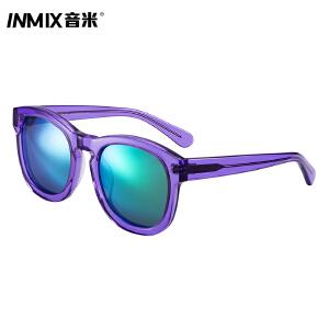 inmix音米炫彩偏光时尚太阳眼镜透明板材大框男女款潮人墨镜5055