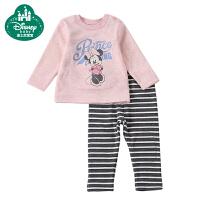 迪士尼宝宝小小世界男女童条纹暖甲套装 保暖内衣加厚加绒礼盒装
