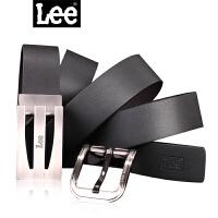 Lee 男士双扣头皮带商务休闲男女青年针扣式腰带 礼品 真皮皮带