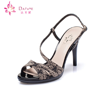 Daphne/达芙妮15年 女鞋 复古蕾丝布后绊带露趾凉鞋1015303008