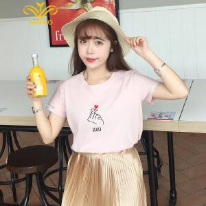 演沃 2017夏季袖宽松圆领t恤女时尚印花T恤