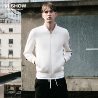 viishow春装新款夹克衫 欧美潮流棒球衣男 字母修身白色外套