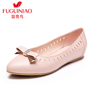 富贵鸟 年春季新品单鞋 时尚头层牛皮尖头镂空平底女单鞋女鞋子