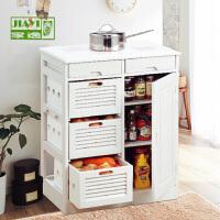 家逸 简约现代 实木餐边柜 厨房调料柜 蔬菜柜 茶水碗柜 餐边桌橱柜 整装发货双色可选