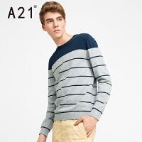 以纯A21春季套头圆领毛衣男针织衫学生纯色长袖男装秋装