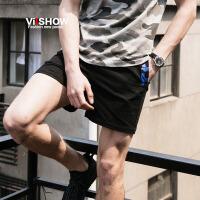 viishow夏装新款男士休闲短裤 中腰直筒五分裤 青少年撞色潮裤子