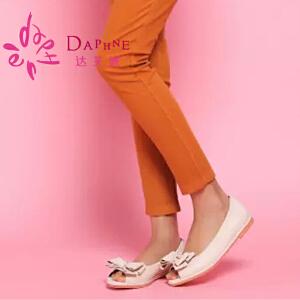Daphne/达芙妮女鞋 俏皮蝴蝶结装饰舒适平跟鱼嘴女单鞋10141021