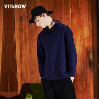 viishow2017潮牌男装春装新品卫衣套头青年韩版休闲纯色长袖外套