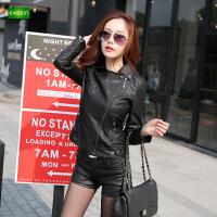 逸纯印品(EASZin)仿真皮皮衣 女士PU水洗皮夹克 韩版修身皮装 外套 女式西装领