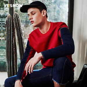 viishow2017春装新品男士加绒休闲卫衣撞色拼接韩版青年圆领外套