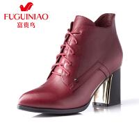 富贵鸟时尚女鞋头层牛皮尖头系带粗跟女短靴 金属装饰简约系带女靴