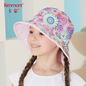 卡蒙6-9岁宝宝渔夫帽双面戴防紫外线遮阳帽女童可折叠夏季防晒帽4780