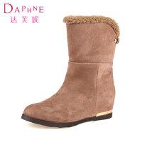 Daphne/达芙妮女鞋 低跟软面绒毛中筒雪地靴1014607155