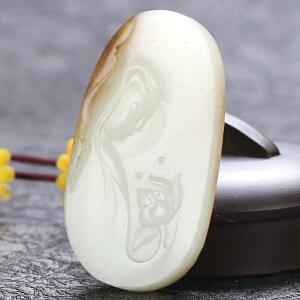 侯晓峰玉雕 新疆和田玉籽料白玉挂件观音洒金皮原籽和田观音吊坠