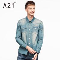 以纯A21男士修身长袖牛仔衬衫男 青春牛仔衣秋装新品休闲衬衣青年潮