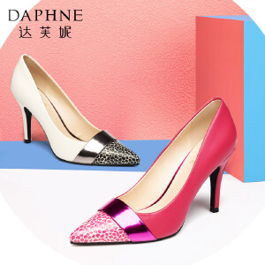 Daphne/达芙妮春超高跟女鞋 漆皮性感时尚豹纹拼色单鞋1015101052