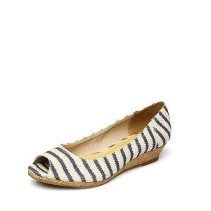 Daphne/达芙妮春款单鞋女坡跟条纹布面鱼嘴浅口女单鞋1515102002