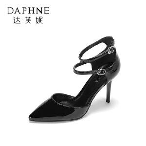 Daphne/达芙妮2017春夏简约玛丽珍鞋 时尚尖头一字扣细跟通勤单鞋
