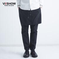 viishow春装新款休闲长裤 欧美街头潮流直筒裤男个性潮裤可拆