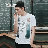 viishow夏装新品男士t恤几何图案条纹圆领短袖T恤 青年衣服体恤男