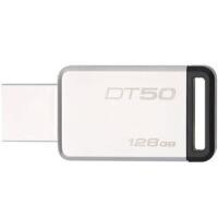 金士顿DT50 128G U盘128gb 定制u盘高速USB3.1 DT50不锈钢金属u盘128g刻字优盘 黑色