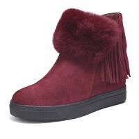 富贵鸟冬季保暖雪地靴女 新款平底女靴子潮时尚加绒短靴棉靴子