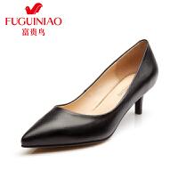 富贵鸟女鞋 秋季新款 女单鞋 中跟 尖头鞋细跟工作鞋女