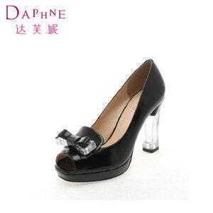 Daphne/达芙妮春季女鞋 蝴蝶结拼接透明鱼嘴单鞋1014102051