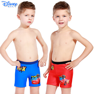 迪士尼儿童泳衣裤男童宝宝平角裤卡通绑绳式汽车沙滩裤SCK10009