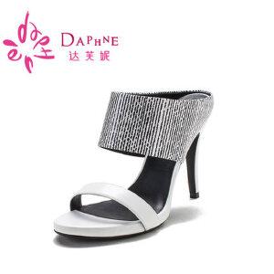 Daphne/达芙妮 夏季  时尚圆头一字面高跟女凉鞋10 303024