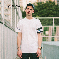 VIISHOW2017夏装新品圆领套头短袖T恤不对称印花纯棉男士短T潮