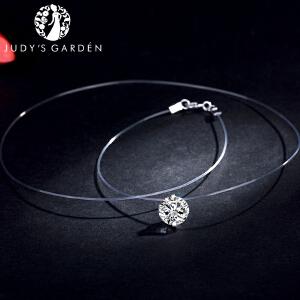 【茱蒂的花园】S925纯银抓扣3克拉仿钻隐形透明鱼线项链吊坠女生锁骨链颈链锁喉
