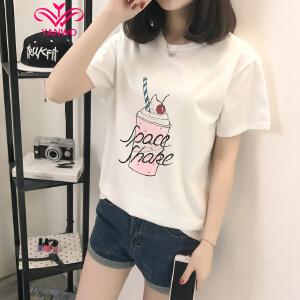 演沃 2017夏季韩版图案印花学生t恤女短袖印花宽松百搭女体恤