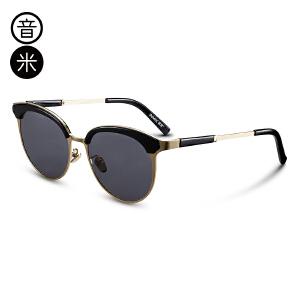 音米复古猫眼太阳镜女潮时尚个性偏光墨镜金属镜框眼镜男 AASBPB166