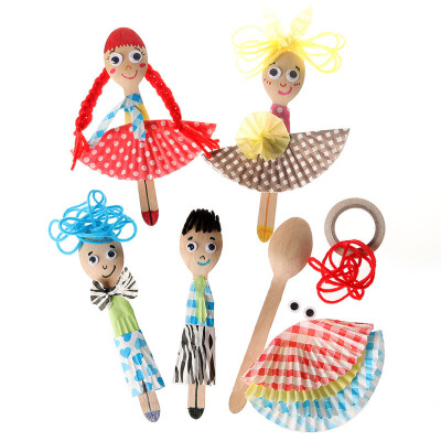 艺趣手工创意diy材料包 幼儿园儿童手工制作益智玩具 勺子娃娃