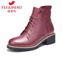 富贵鸟女鞋女靴子 新款系带粗跟短靴冬季马丁靴短靴女皮靴