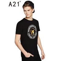 以纯线上品牌A21 2017夏装新款男装休闲百搭T恤修身圆领短袖t恤