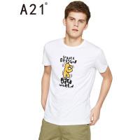 以纯线上品牌a21 2017夏季新款短袖T恤男 修身青年趣味印花打底衫 175/88A/L