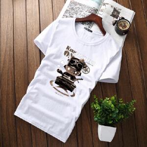 逸纯印品(EASZin)男式短袖T恤 日韩修身休闲体恤衫 圆领低调文字印花t恤