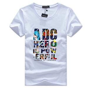 逸纯印品(EASZin)短袖t恤男 日韩系金翅膀印花体恤衫 圆领韩版学生中青年修身款