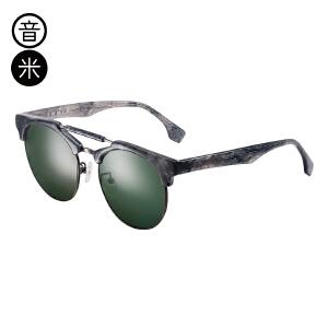 音米2017新款时尚半框太阳镜女 个性双梁墨镜男士司机镜 开车眼镜 AASABB715