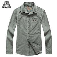 AFS JEEP战地吉普男士长袖衬衫春装新品男装宽松休闲百搭牛仔衬衣