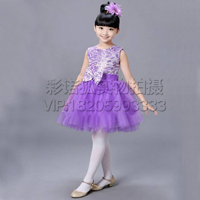 六一儿童节演出舞服蓬蓬纱裙 2016儿童亮片礼服舞蹈演出服 花童礼服
