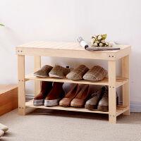 家逸 松木无漆环保换鞋凳 日式实木鞋架 简约现代穿鞋凳玄关鞋柜 收纳层架