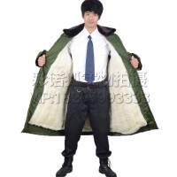 冬季军绿色羊毛大衣棉袄子户外防寒服户外保安值班大衣男款军大衣 棉大衣加厚加长款军大衣