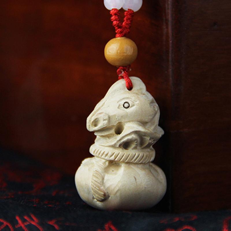 桃木雕刻十二生肖吊坠挂件饰立体鼠牛虎兔龙蛇马羊猴鸡狗猪_属马