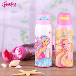 Barbie/芭比 儿童双效保温保冷保温杯女童弹盖吸管不锈钢保温杯MB6009