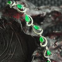 臻品冰种A货淡绿水滴手链--18K金钻镶嵌