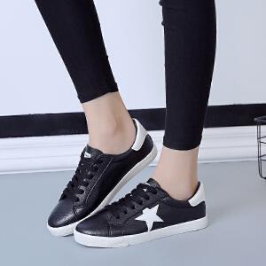 环球 2017秋季新款女韩版时尚小白鞋休闲系带鞋透气舒适平底板鞋