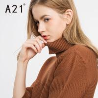以纯A21女装反高领纯色个性套头毛衣女 青春时尚百搭秋冬款长袖线衫